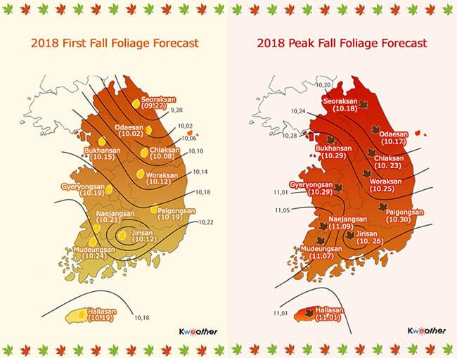 Momen Daun Berguguran Akan Dimulai dari Gunung Seoraksan pada 27 September