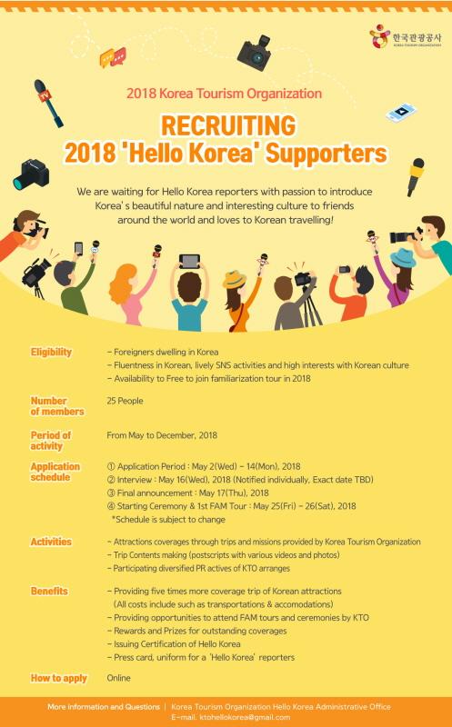 """[Korea] Pendaftaran untuk Pendukung """"Hello Korea"""" 2018"""